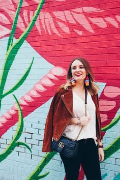 Chicago Flamingo Rum Room Wall + Why You Need a Suede Moto Jacket | Pretty in Pink Megan