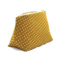 Mustard Cosmetic Bag in Cream Polka Dot Print by JordaniSarreal, $11.95 #mustard #polkadot #makeupbag #handmade