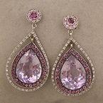 Rose of France Amethyst, Tourmaline and Diamond Drop Earrings $1,400