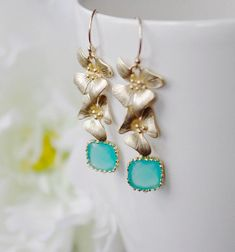 Earrings with Mint Opal Framed Glass Beads by SarahOfSweden