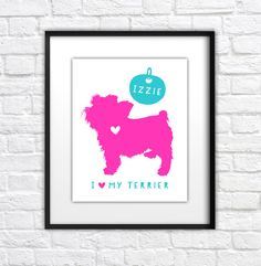 Yorkie Gift, Custom Dog Silhouette Art - 8x10 Art Print Personalized, Custom Christmas Gift Ideas under 20, Small Dog, Maltese, Silk Terrier