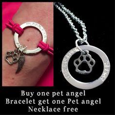 Buy One Pet Angel Wing Halo Bracelet Get One Pet Angel Necklace free