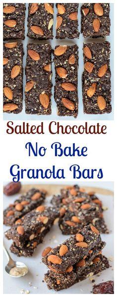 Salted Chocolate Almond No Bake Granola Bars. Heathy and tastes just like a chocolate brownie or Larabar. (vegan, gluten free)
