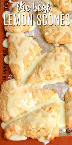 No trip to a fancy bakery needed to enjoy these Lemon Scones. Simple ingredients, a little love, and you'll have a batch of these freezer friendly scones in no time! easy 3 ingredients easy for a crowd easy healthy easy party easy quick easy simple Breakfast Dishes, Breakfast Recipes, Breakfast Scones, Breakfast Dessert, Lemon Scones, Orange Scones, Lemon Desserts, Desserts Keto, Cookies Et Biscuits