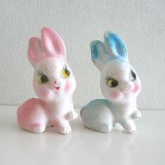 2 Vintage Flocked Easter Bunny Figurines Pink and Blue
