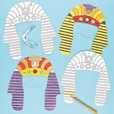 Transform into King Tut or Cleopatra with an Egyptian Headdress! Pre-cut and pre-printed cardboard headdress for children to colour with acrylic paint or fibre pens and then wear. Ancient Egypt Crafts, Egyptian Crafts, Egyptian Party, Art For Kids, Crafts For Kids, Thinking Day, Sunday School Crafts, Bible Crafts, Elementary Art