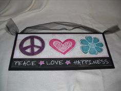 Peace Love Happiness Wooden Girls Bedroom Wall Art Sign Hearts Flowers Stars