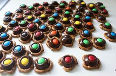 Chocolate Pretzel M&M bites. Notes: ONLY put the chocolate in the oven for 3 minutes! They will NOT look melted, but if you put them in longer, you will burn the chocolate and won't be able to press the M&Ms in! These work better if the oven is on Mini Desserts, Delicious Desserts, Dessert Recipes, Pretzel Snacks, Pretzel Bites, How To Make Pretzels, Baking Bad, Chocolate Treats, Chocolate Turtles