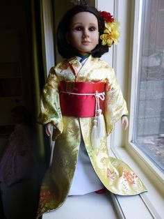 "This is our Japanese kimono outfit, also on a 23"" MyTwinn (unique, hand painted) doll."