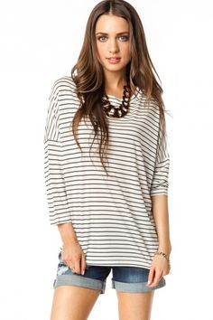 Cozy Top in Black Stripes