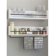 Set of 2 White Kitchen Wood Wall Shelf with Metal Rail Al... https://www.amazon.com/dp/B01HLR04UK/ref=cm_sw_r_pi_dp_x_ZQwPxbQA6TD43