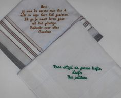 zakdoekjes geborduurd