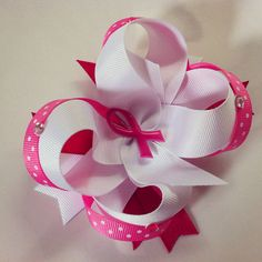 Breast Cancer Awareness Hair Bow by LunaPetite on Etsy, $6.00