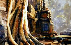 Watercolor painting of sycamore trees growing in 12th century ruined temple of Ta Prohm at Angkor Wat ruins- Cambodia by RFoxWatercolors