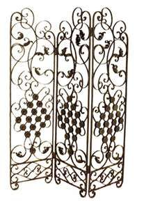 French scrolled room divider wrought iron metal screen.  I like the feeling of this to match my living room.  Maybe the french scroll would match the style.