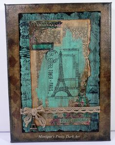 Mixed Media Eiffel Tower Canvas created with DecoArt Media and Americana Acrylics   Monique Van Dijk #decoartprojects