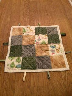 Baby Children's Sensory Toy Blanket - Giraffe Jungle Beige Green Gray Patchwork Square Design by BagsByBetty54 on Etsy https://www.etsy.com/listing/204721115/baby-childrens-sensory-toy-blanket