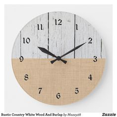 Rustic Country White Wood And Burlap Large Clock The Rustic Clock Rustic Wall Clocks, Farmhouse Wall Clocks, Burlap Wall, Large Clock, White Wood, Country, Design, Home Decor, Decoration Home