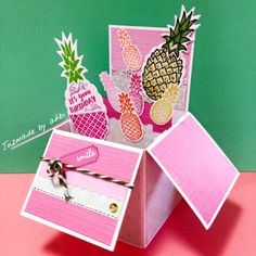 sweet sweet pineapples birthday pop-up box card, use free gift & tutorial from magazine papercraft essentials ^^