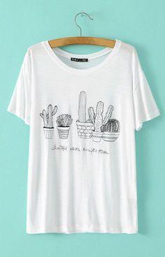 Cactus Print T-Shirt – Trendy Road