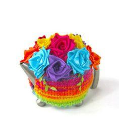 Rainbow rose teapot cozy