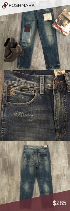 """Izzue/Wrangler👖Western Collaboration SP/S 2012 EXTREMELY RARE! Pristine condition, these amazing jeans are from a co-branded capsule collection w/Wrangler. Using many elements from the Wrangler archives/history, the capsule range takes on a Western menswear aesthetic. Amazing, distressed straight leg jeans play up the vintage theme w/exposed stitching and patchwork. Izzue is an Asian fashion brand with no stores in the States, extremely rare, for the denim enthusiast. W: 15.25"""", R: 12"""", I…"""
