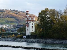 """the so called """"Mouse Tower"""" it was orginally a Customs Tower (Mautturm), but is now a lighthouse marking the Binger Loch narrows"""