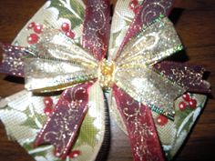 Christmas Hair Bow by DixieMadeBows on Etsy