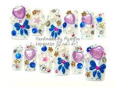 Blue bows and purple heart gems stars and glitters by Aya1gou, $18.50