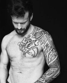 Nordic Tattoo by Sean Parry Celtic Sleeve Tattoos, Viking Tattoo Sleeve, Viking Tattoos, Rune Tattoo, Norse Tattoo, I Tattoo, Full Body Tattoo, Body Art Tattoos, Tribal Tattoos