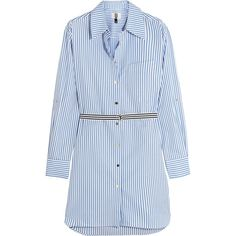 Topshop Unique Dorney striped cotton-poplin shirt dress ($175) ❤ liked on Polyvore featuring dresses, blue, stripe shirt dress, henley dress, striped summer dress, summer shirt dresses and blue dress