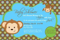 Monkey Baby Shower Invitations For A Boy
