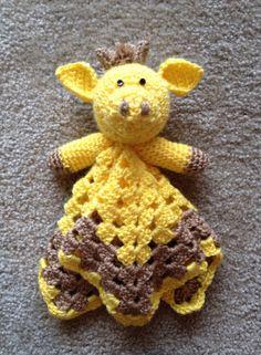 Crochet Giraffe Security blanket  by TheStrawberryPurl on Etsy, $23.00