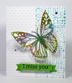 """""""I Miss You"""" a handmade card by Kelly Booth, created using a pretty distress painted butterfly embellishment, via Flickr!"""
