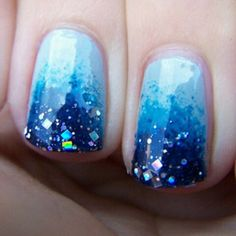 These ombre nails. Sparkle Blue