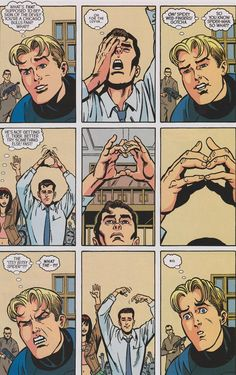 """""""Human Torch learns that Peter Parker is Spider-Man: Spider-Man/Human Torch 5"""" This is so great! How have I not seen this before haha"""