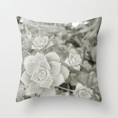 Throw Pillow Cover Succulent Flower Botanical by 9thCycleStudios www.etsy.com/shop/9thCycleStudios #decor #home #pillow #case # grey #succulents #flowers #garden