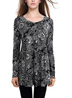 BAISHENGGT Women's Floral Printed Casual Long Sleeve Flared Swing Top