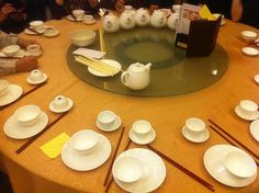 A basic place setting according to Chinese etiquette consists of a small teacup, a large place with a small and empty rice bowl (in the centre), a set of chopsticks on the right hand side of the table, and a spoon.