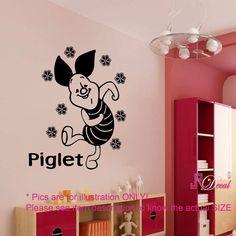 Disney winnie the pooh PIGLET Personalised Wall Sticker Art Decal Vinyl Kid room