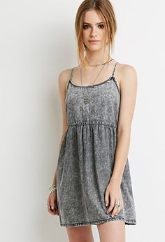 Mineral Wash Cami Dress | Forever 21 - 2000077696  mineral-washed denim and features adjustable straps   Unlined, woven 100% cotton