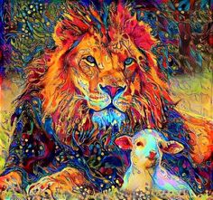 beautiful lion and lamb More