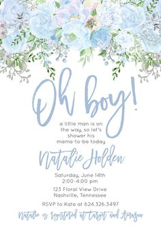 Oh Boy Little Man Baby Shower Invitation Blue Watercolor Flowers Digital Printable - Products - Baby Shower Azul, Baby Shower Flowers, Baby Shower Brunch, Girl Shower, Baby Shower Invitations For Boys, Baby Shower Printables, Baby Shower Favors, Baby Shower Themes, Shower Ideas