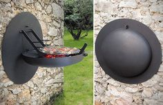 Incognito wall-mounted grill folds up when not in use.