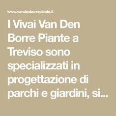 I Vivai Van Den Borre Piante a Treviso sono specializzati in progettazione di parchi e giardini, sia pubblici sia privati, in opere di ingegneria naturalistica ed inoltre dispongono di un ricco Garden Center in cui trovare piante e fiori di stagione di tutte le varietà.