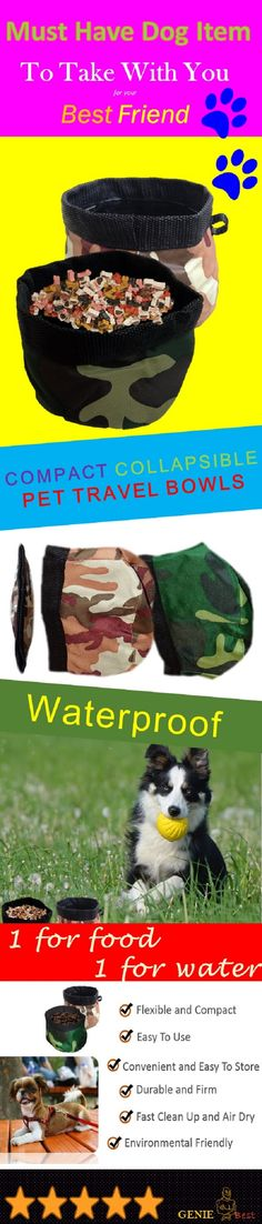 The most important item to pack for a road trip with your dog buddy? His/Her food and water bowl! This collapsible pet travel bowl is waterproof. Make your outing with your pet a safe one. www.amazon.com/dp/B00WLCKNF2