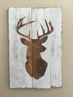 40 Modest Examples of Paintings On Wood Planks - Buzz Modest Examples of Paintings On Wood Planks - Buzz 2018 How To Produce Wood Art ? Wood art is usually the work of shaping about and inside, provide. Hirsch Silhouette, Deer Head Silhouette, Reindeer Silhouette, Deer Decor, Funky Home Decor, Wood Home Decor, Diy Wood Signs, Pallet Art, Wood Planks