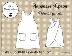 Japanese apron pattern and instructions 8/24 36/52 S/XXL | Etsy Apron Pattern Free, Teacher Apron, Japanese Apron, Aprons For Men, Sewing Aprons, Tutorial, Etsy, Baby Dolls, Sewing Patterns