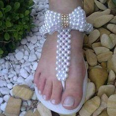 Chanclas decorations beautiful pearl sandal diy