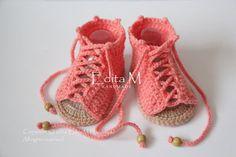 Crochet baby sandals gladiator sandals baby girl by EditaMHANDMADE